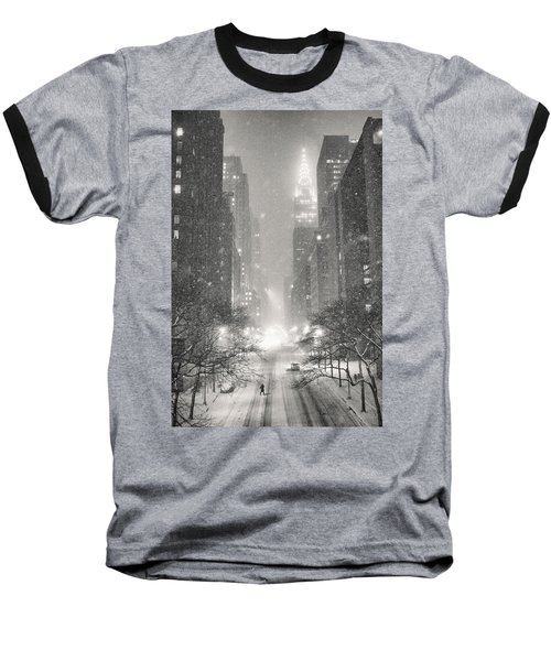 New York City - Winter Night Overlooking The Chrysler Building Baseball T-Shirt by Vivienne Gucwa
