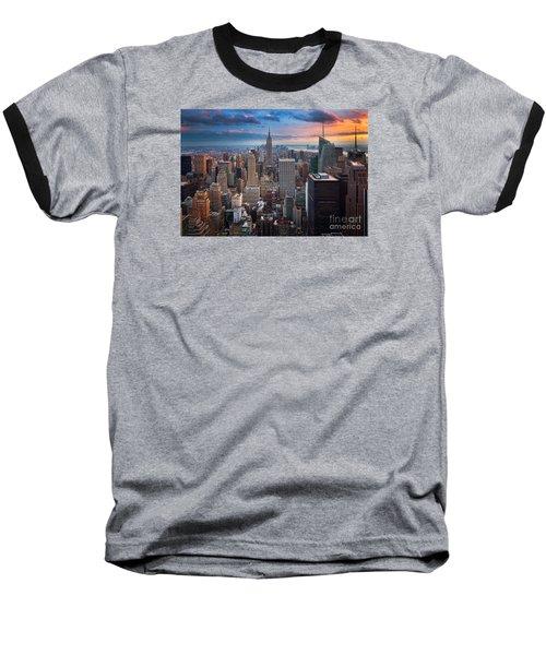 New York New York Baseball T-Shirt by Inge Johnsson