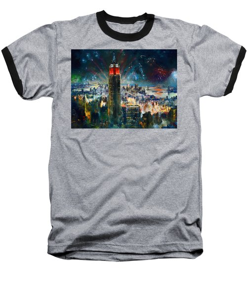 Nyc In Fourth Of July Independence Day Baseball T-Shirt by Ylli Haruni