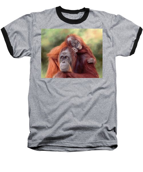 Orangutans Painting Baseball T-Shirt by Rachel Stribbling