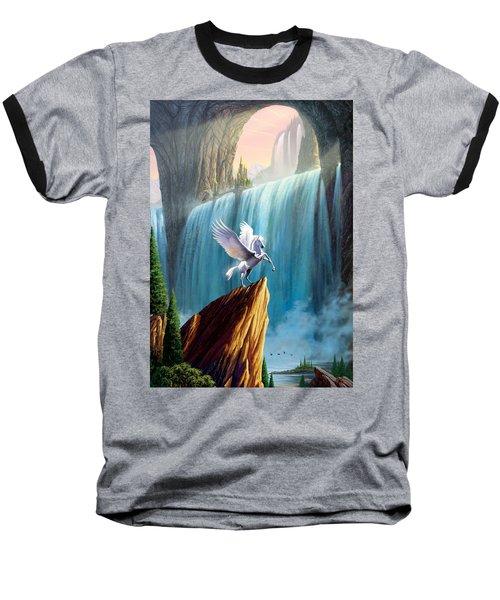 Pegasus Kingdom Baseball T-Shirt by Garry Walton