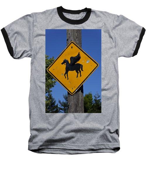 Pegasus Road Sign Baseball T-Shirt by Garry Gay