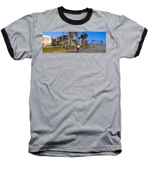 People Riding Bicycles Near A Beach Baseball T-Shirt by Panoramic Images