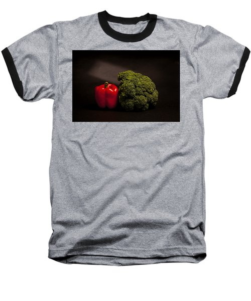 Pepper Nd Brocoli Baseball T-Shirt by Peter Tellone