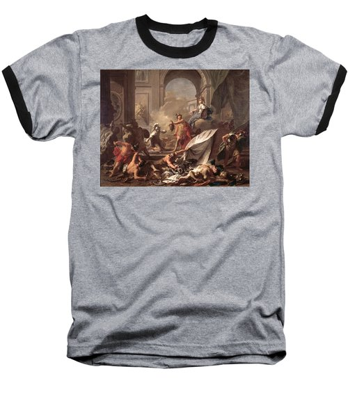 Perseus, Under The Protection Of Minerva, Turns Phineus To Stone By Brandishing The Head Of Medusa Baseball T-Shirt by Jean-Marc Nattier