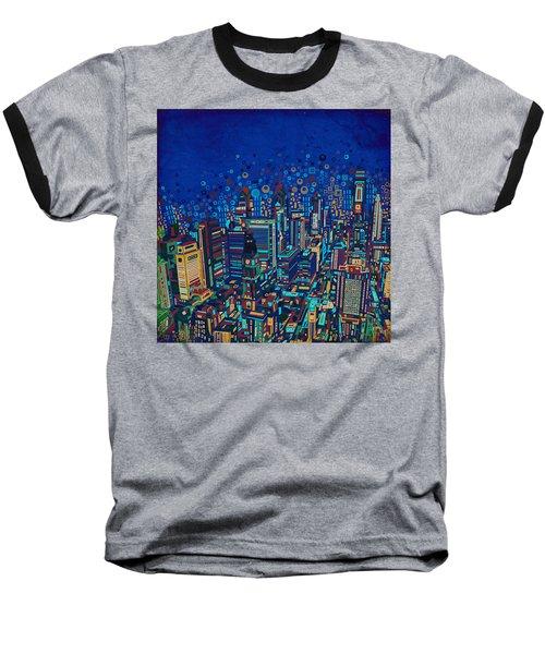 Philadelphia Panorama Pop Art 2 Baseball T-Shirt by Bekim Art