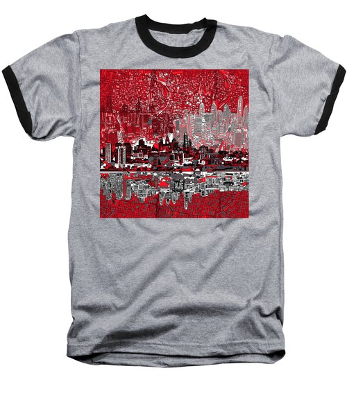 Philadelphia Skyline Abstract 4 Baseball T-Shirt by Bekim Art