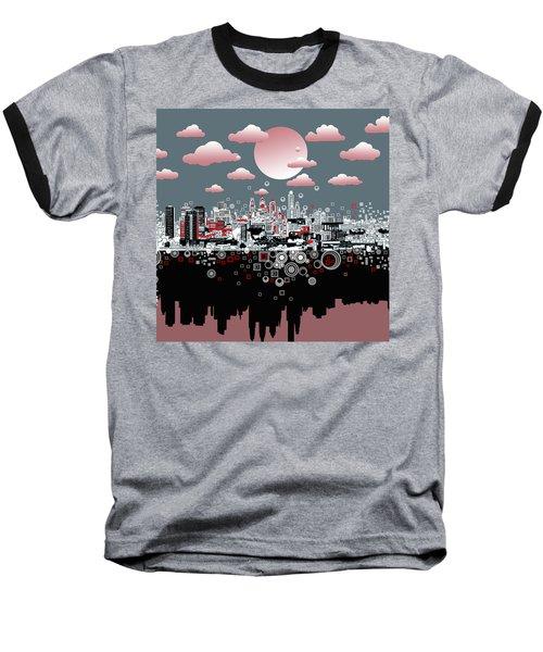 Philadelphia Skyline Abstract 6 Baseball T-Shirt by Bekim Art
