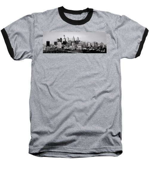 Philadelphia Skyline Black And White Bw Pano Baseball T-Shirt by Jon Holiday