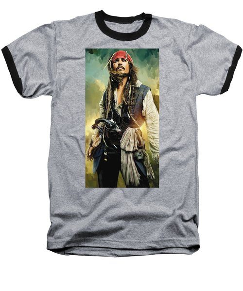 Pirates Of The Caribbean Johnny Depp Artwork 1 Baseball T-Shirt by Sheraz A