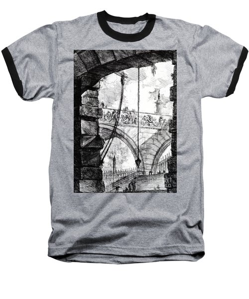 Plate 4 From The Carceri Series Baseball T-Shirt by Giovanni Battista Piranesi