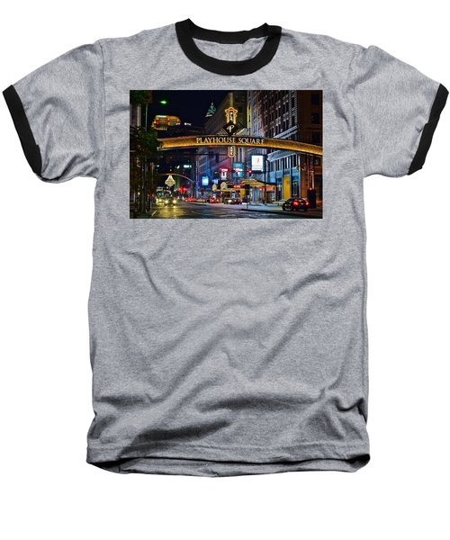Playhouse Square Baseball T-Shirt by Frozen in Time Fine Art Photography