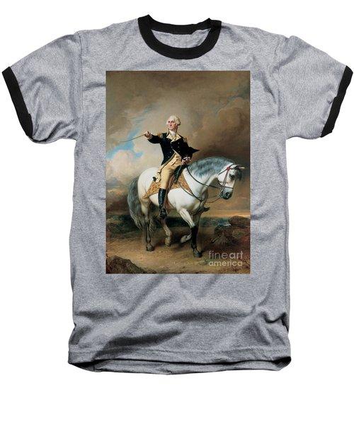 Portrait Of George Washington Taking The Salute At Trenton Baseball T-Shirt by John Faed