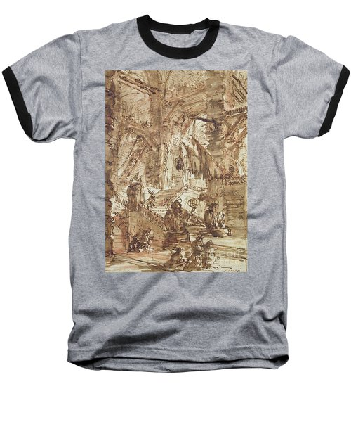 Preparatory Drawing For Plate Number Viii Of The Carceri Al'invenzione Series Baseball T-Shirt by Giovanni Battista Piranesi