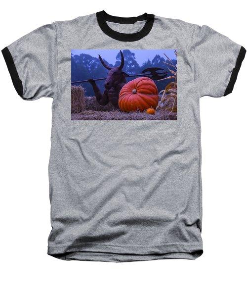 Pumpkin And Minotaur Baseball T-Shirt by Garry Gay