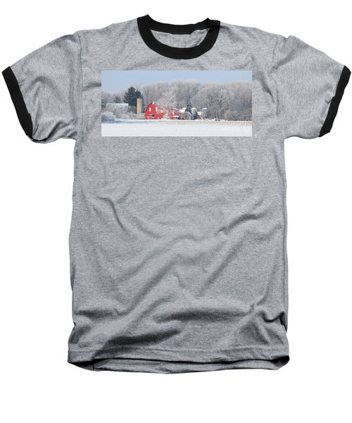 Red Barn Frosty Morning Panorama1 Baseball T-Shirt by Jack Schultz