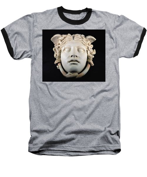 Rondanini Medusa, Copy Of A 5th Century Bc Greek Marble Original, Roman Plaster Baseball T-Shirt by .