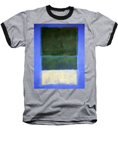 Rothko's No. 14 -- White And Greens In Blue Baseball T-Shirt by Cora Wandel