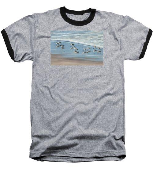 Sandpipers Baseball T-Shirt by Tina Obrien