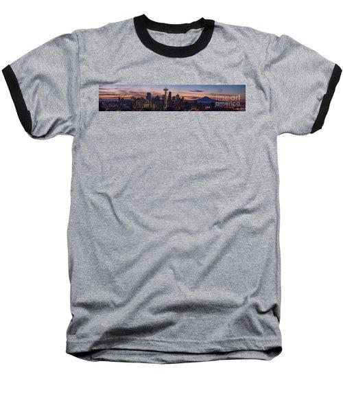Seattle Cityscape Morning Light Baseball T-Shirt by Mike Reid