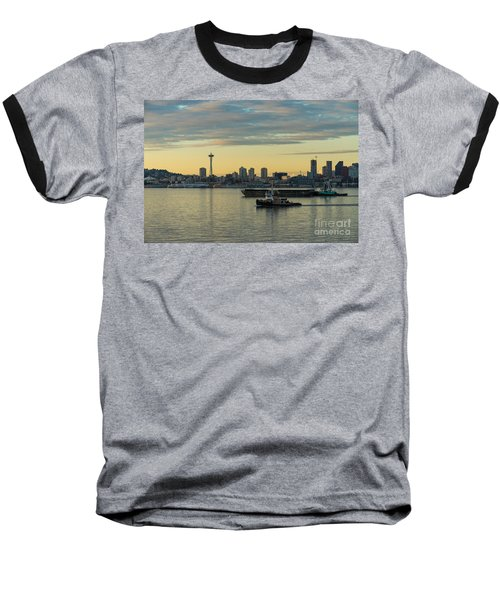 Seattles Working Harbor Baseball T-Shirt by Mike Reid