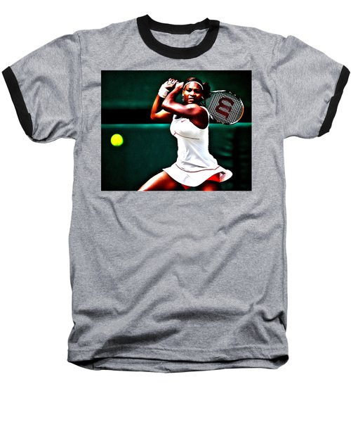Serena Williams 3a Baseball T-Shirt by Brian Reaves