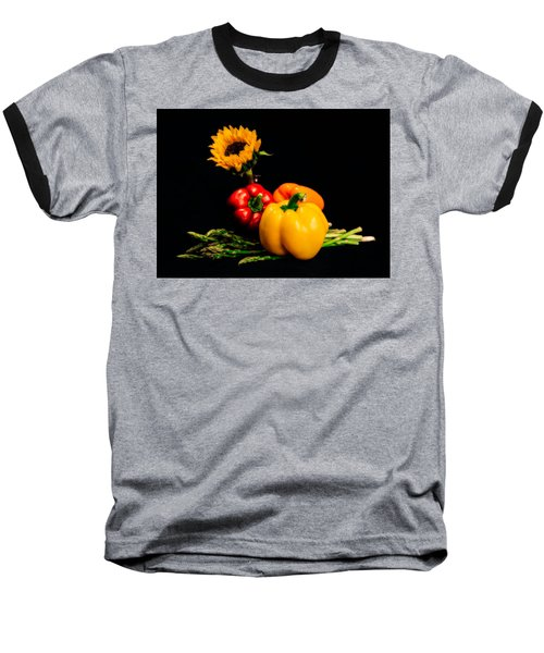 Still Life Peppers Asparagus Sunflower Baseball T-Shirt by Jon Woodhams