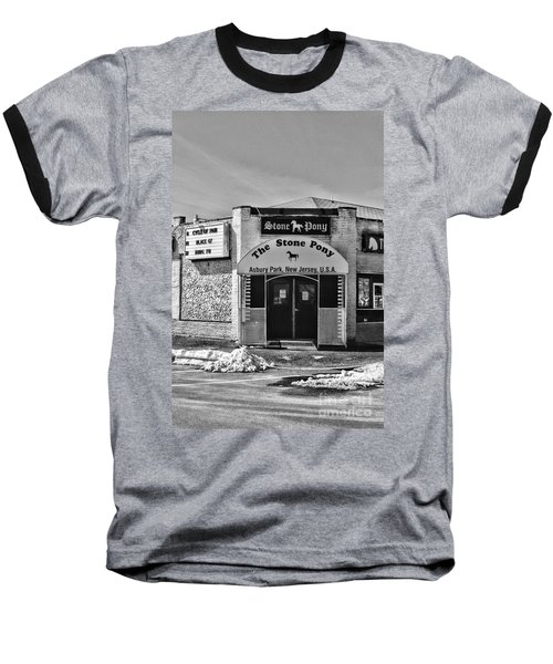 Stone Pony In Black And White Baseball T-Shirt by Paul Ward