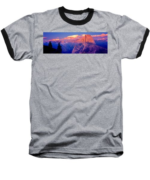 Sunlight Falling On A Mountain, Half Baseball T-Shirt by Panoramic Images