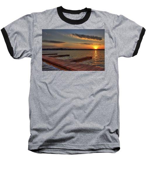 Sunset Docks On Lake Oconee Baseball T-Shirt by Reid Callaway