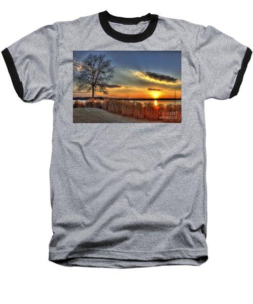 Sunset Sawgrass On Lake Oconee Baseball T-Shirt by Reid Callaway