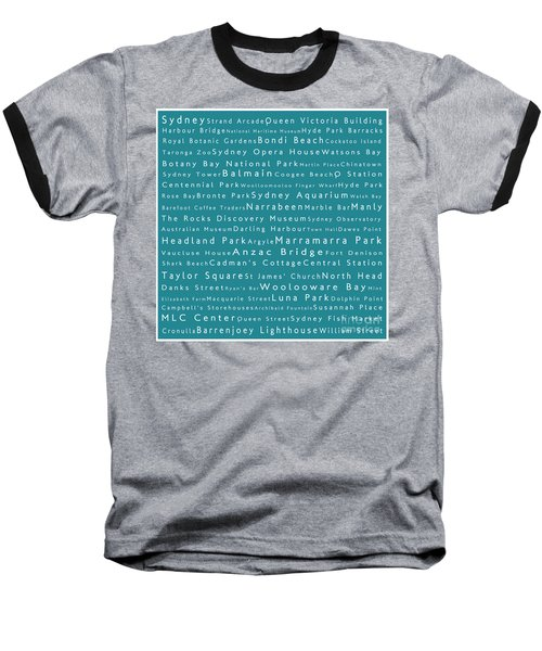 Sydney In Words Teal Baseball T-Shirt by Sabine Jacobs