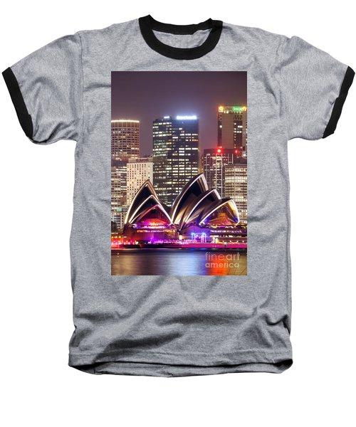 Sydney Skyline At Night With Opera House - Australia Baseball T-Shirt by Matteo Colombo