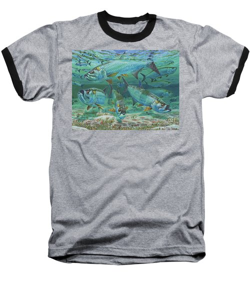 Tarpon Rolling In0025 Baseball T-Shirt by Carey Chen