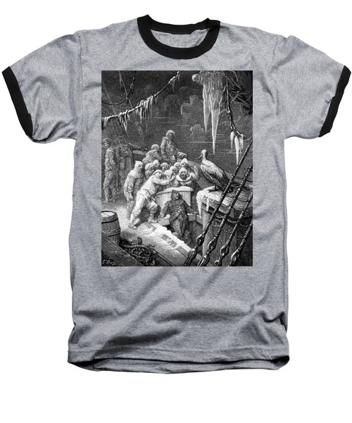 The Albatross Being Fed By The Sailors On The The Ship Marooned In The Frozen Seas Of Antartica Baseball T-Shirt by Gustave Dore
