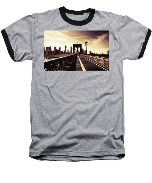 The Brooklyn Bridge - New York City Baseball T-Shirt by Vivienne Gucwa