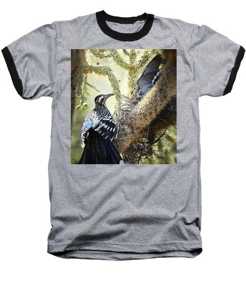 The Dove Vs. The Roadrunner Baseball T-Shirt by Saija  Lehtonen