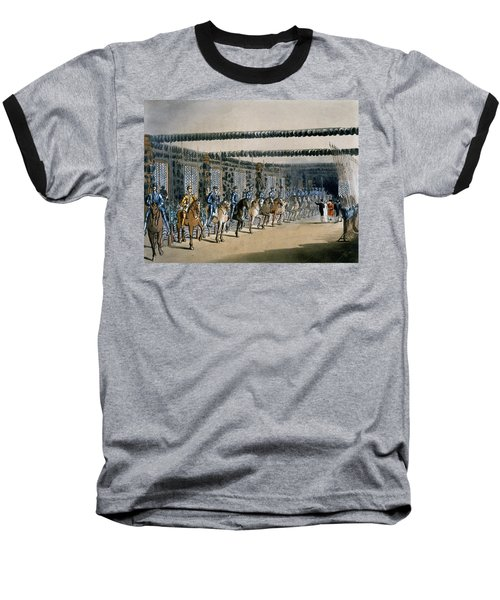 The Horse Armour Tower, Print Made Baseball T-Shirt by T. & Pugin, A.C. Rowlandson