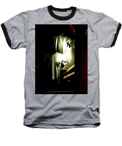 The Locker  Mickey Mantle's And Joe Dimaggio's Locker Baseball T-Shirt by Iconic Images Art Gallery David Pucciarelli
