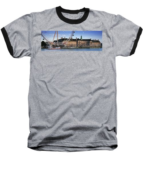 The London Eye And County Hall Baseball T-Shirt by Rod McLean