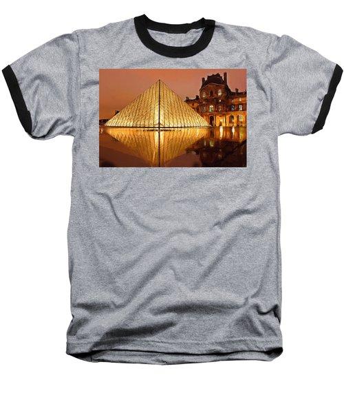 The Louvre By Night Baseball T-Shirt by Ayse Deniz