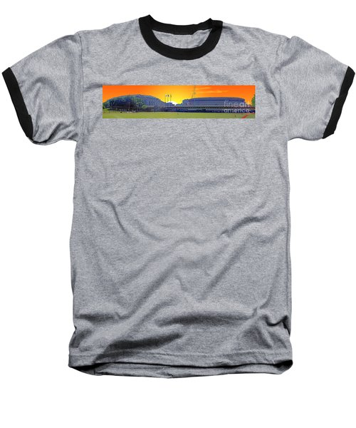 The Old And New Yankee Stadiums Side By Side At Sunset Baseball T-Shirt by Nishanth Gopinathan