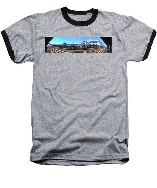 The Old And New Yankee Stadiums Panorama Baseball T-Shirt by Nishanth Gopinathan