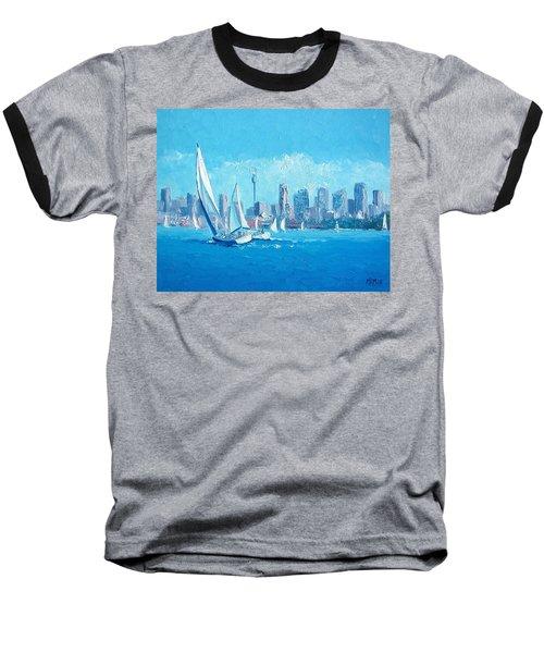 The Regatta Sydney Habour By Jan Matson Baseball T-Shirt by Jan Matson