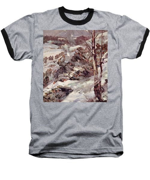 The Russians Fighting Their Way Over The Carpathians Baseball T-Shirt by Cyrus Cuneo