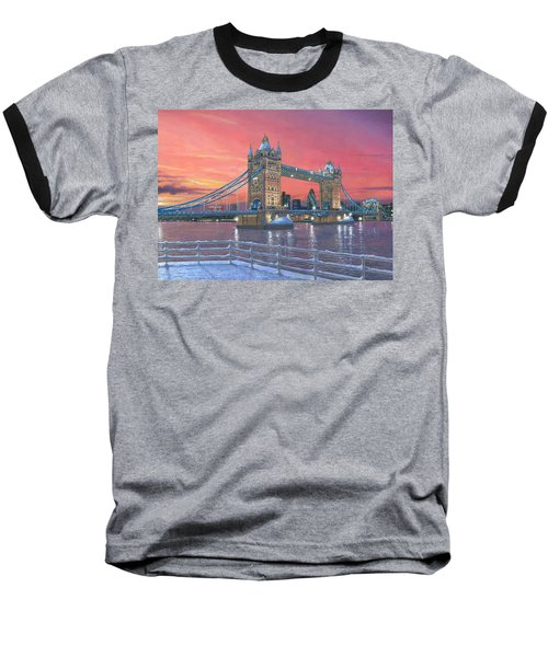 Tower Bridge After The Snow Baseball T-Shirt by Richard Harpum