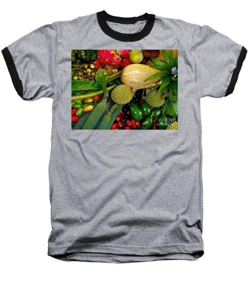 Tropical Fruits Baseball T-Shirt by Carey Chen