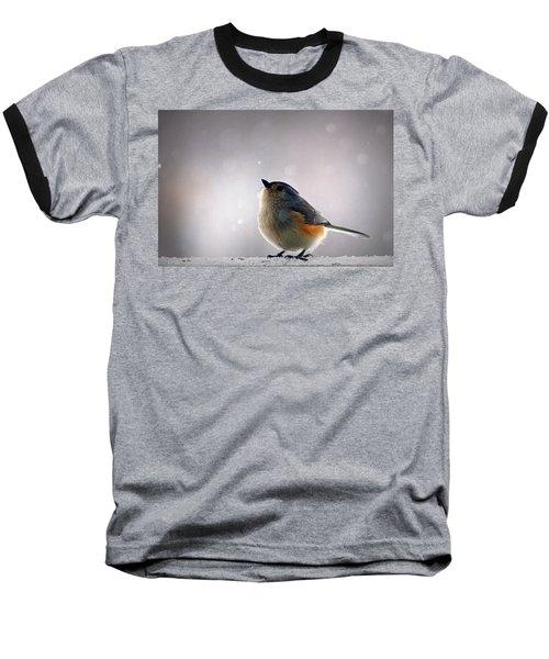 Tufted Titmouse Baseball T-Shirt by Cricket Hackmann