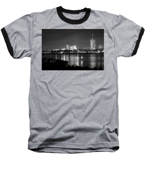 Tulsa In Black And White - University Tower View Baseball T-Shirt by Gregory Ballos