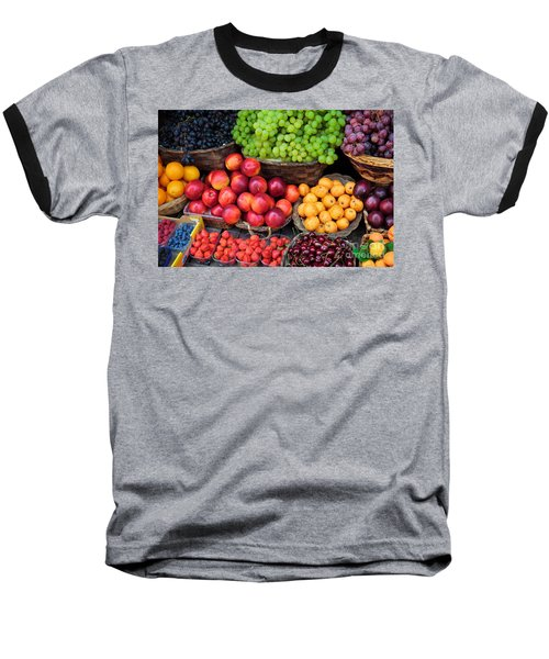 Tuscan Fruit Baseball T-Shirt by Inge Johnsson
